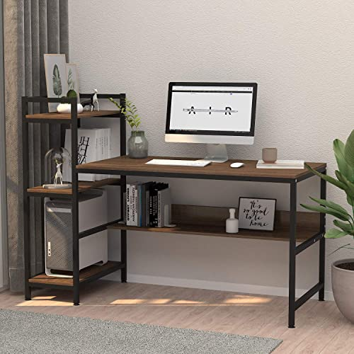 Computer Desk with 4 Tier Storage Shelves – 41.7 Student Study Table with Bookshelf Modern Wood Desk with Steel Frame for Small Spaces Home Office Workstation Walnut