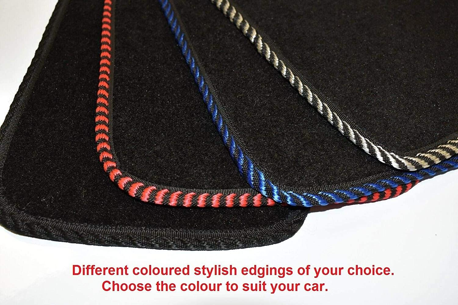 Tailored//Compatible to Fit Mercedes Benz Vito Van From 2003 to 2016 Black Edging Front mat only with Heel Pad with Unique Logos Lusso Floor Carpet Mats for Car