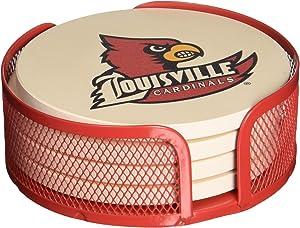 Thirstystone Stoneware Drink Coaster Set with Holder, University of Louisville