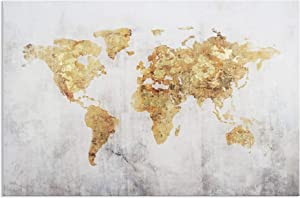 Kas Home Art Vintage Large Gold Foil World Map Wall Art Painting Pictures Print on Canvas Art The Picture for Home Modern Decoration Office Wall Decor (24 x 36 Inch, B Framed)
