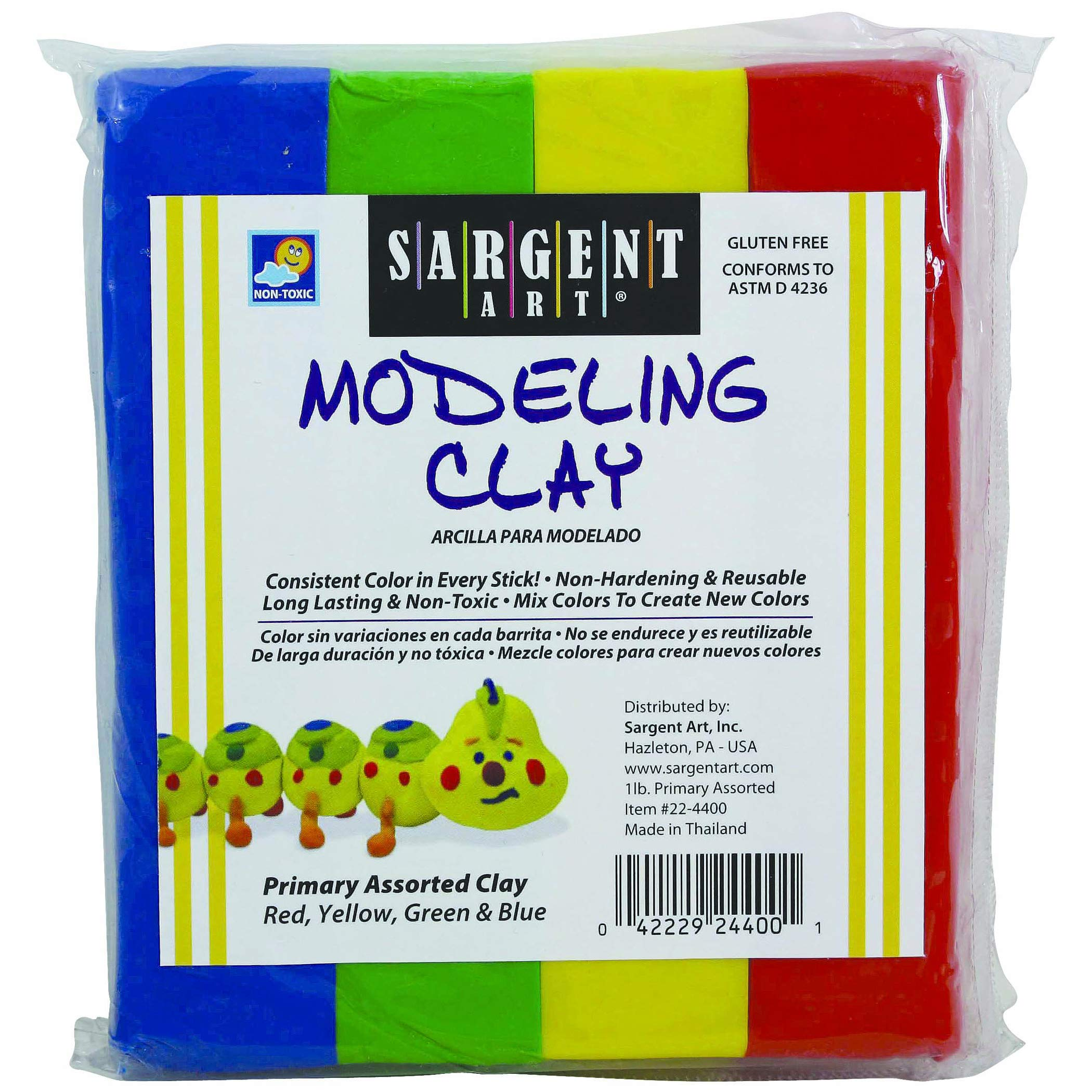 Sargent Art SAR224400BN Modeling Clay, Blue/Green/Yellow/Red, 1 lb. Per Pack, 12 Packs