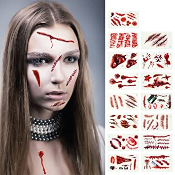 Madholly 15 Sheets Temporary Tattoos, Bleeding Wound Body Scar Horror  Tattoo Stickers for Halloween Trick