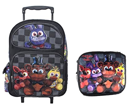 "Bonny Five Nights At Freddys Large School Roller Backpack 16"" FNAF Trolley Rolling Bag Plus"