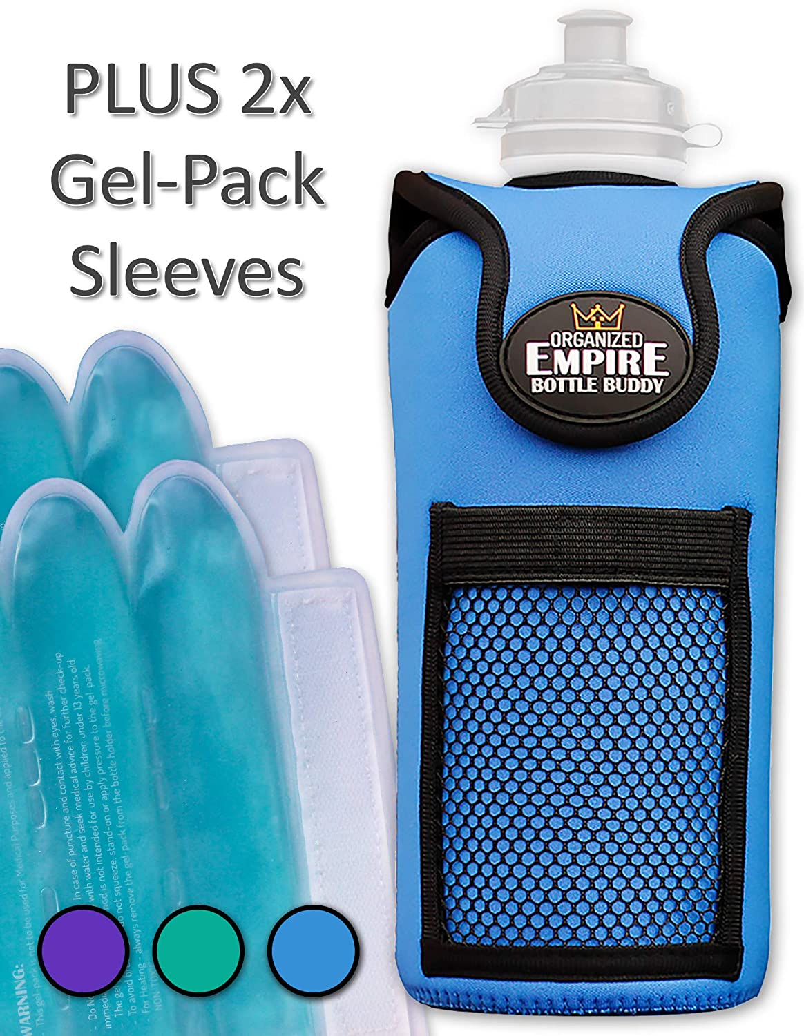 Organized Empire Insulated Water Bottle Holder with Shoulder Strap Sling, 2 Freezable / Microwave gel-pack sleeves for Hot / Cold Use as Breastmilk Cooler Bag, Portable Bottle Warmer or Drink Carrier