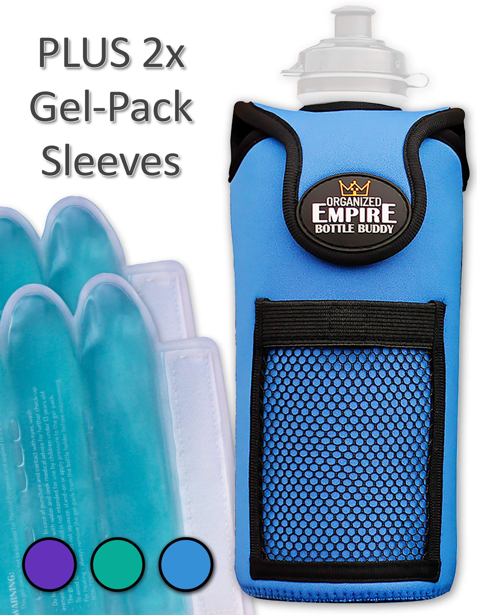 Organized Empire Insulated Water Bottle Holder with Shoulder Strap Sling + 2 Freezable & Microwave Gel-Pack Sleeves for hot/Cold Use as Breastmilk Cooler Bag, Portable Bottle Warmer or Drink Carrier by Organized Empire