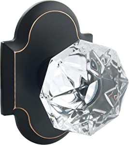 Crystal KNOB Passage Snow FRM Rosette, Oil Rubbed Bronze
