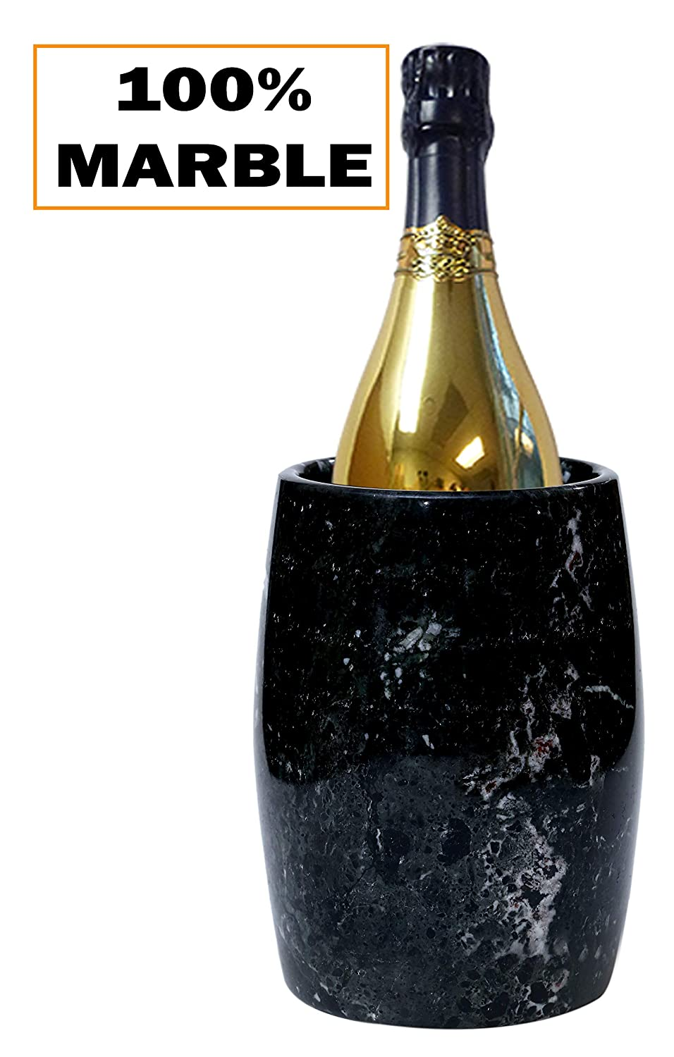 """Wine Chiller 5x5x6.5 Inch"""" Tall Outdoor Marble Black Handmade Marble Wine Chillers – Tabletop Portable Non Sleeves Non Electric Champagne Freeze Cooler – Inside Kitchen Creative Home Décor (BZ-02) RADICALn"""