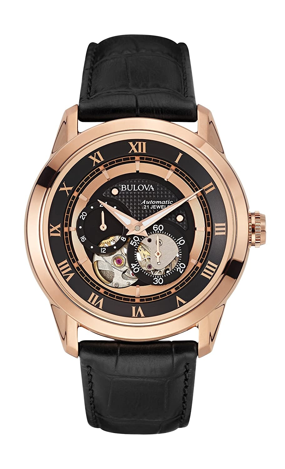 bulova automatic men s watch black dial analogue display and bulova automatic men s watch black dial analogue display and black leather strap 97a116 amazon co uk watches