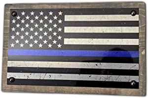ANVEVO 12 Inch Metal Blue Line American Flag On Wood – Wood Metal Wall Décor Art Gifts for Men – Hanging Signs for Home, Man Cave, Office – Stylish Aluminum Mounted on Wood - Handmade in The USA