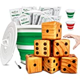 Splinter Woodworking Co. Yardzee, Farkle & 20+ Games (All Weather) - Yard Dice Game Set with Red or Green Collapsible Bucket,