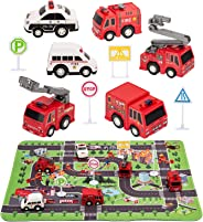 Kilpkonn Fire Truck Toys with Play Mat,Fire Vehicles Set Include 6 Fire Engines, 4 Road Signs, 14