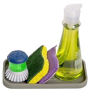 HomeBee, Silicone Kitchen Bath Vanity Organizer Tray, Non-Slip Durable Multipurpose Sink Caddy   Sponge, Brush, Dish Soap Dispenser Rubber Holder   Heat Resistant and Dishwasher Safe, Grey