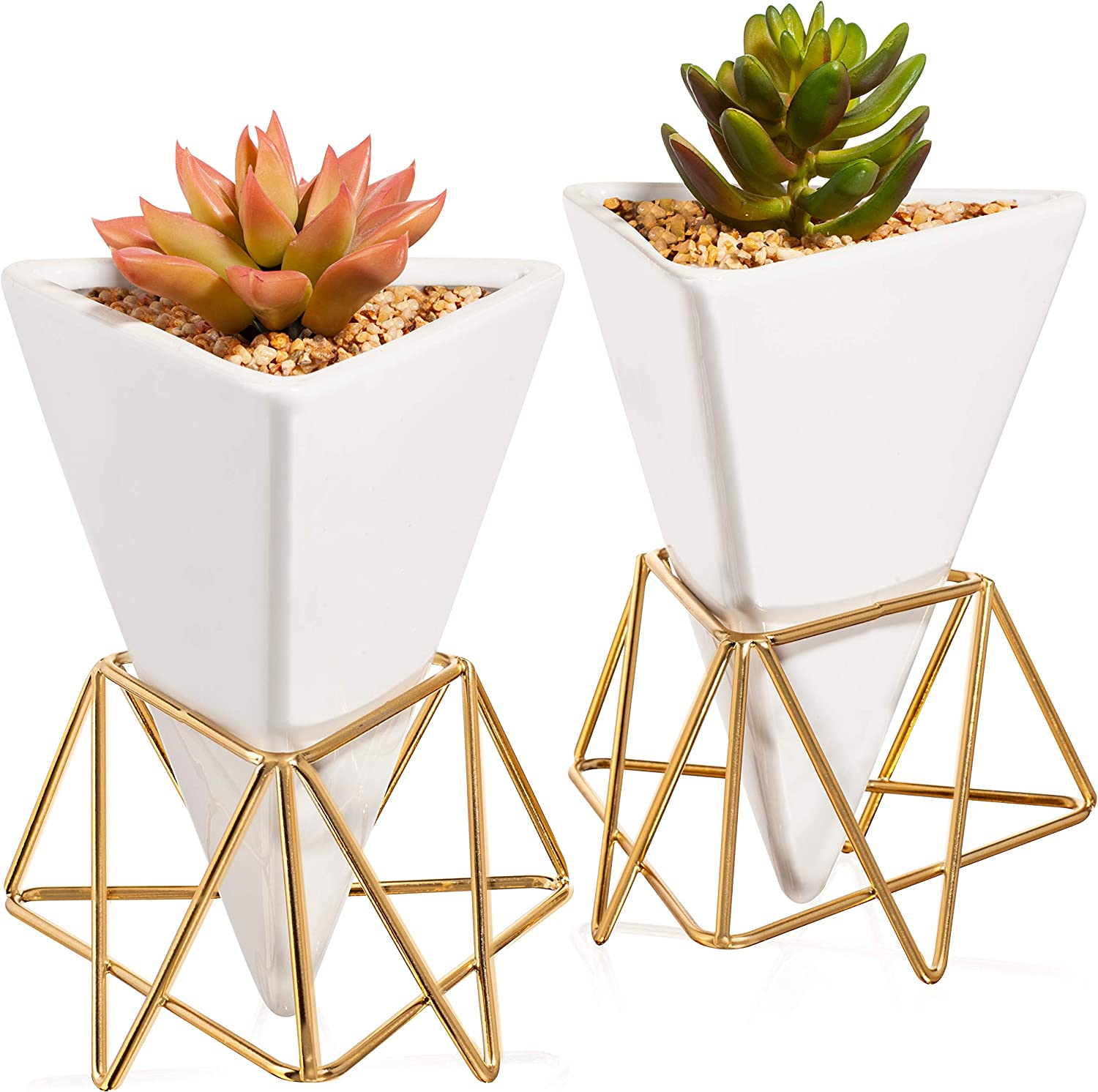 Succulent Wall Planter Geometric - Triangle White/Gold Ceramic Decor Set of 2 - Modern Desktop Stand with Vase for Live Plant - Drainage for Air Plants, Cactus, and herbs - Dual Use - Hanging or Table