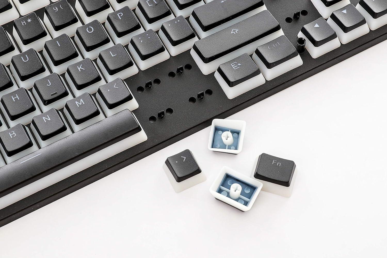 HK Gaming 108 Double Shot PBT Pudding Keycaps Ansi//ISO 87 TKL White Oem Profile Keyset 60/% 104//108 MX Switches Backlit