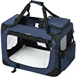 SONGMICS Lightweight Fabric Pet Carrier Crate with Food Bag Portable Folding Dog Carrier Cage Pet Booster Seat Dark Blue - L 70 x 52 x 52 cm PDC70Z