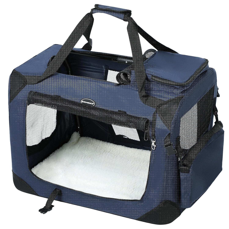 SONGMICS Cage de transport Caisse Sac de transport pliable pour chien animal domestique bleu foncé - S 50 x 35 x 35 cm PDC50Z