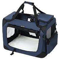SONGMICS 50 x 35 x 35 cm Gabbia Pieghevole Portatile Borsa per Cane Animale Domestico da Trasporto Macchina Viaggio blu PDC50Z