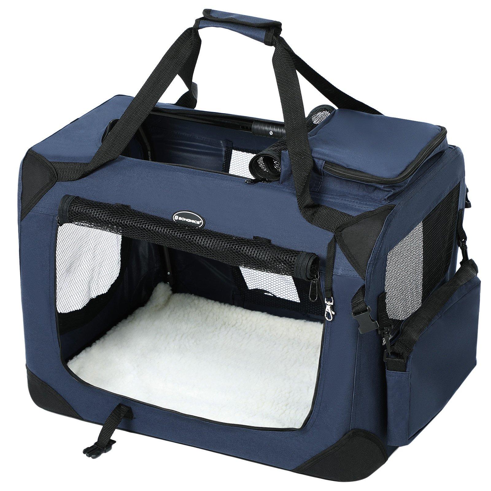 SONGMICS 70 x 52 x 52 cm Bolsa de Transporte para Mascotas Transportín Plegable para Perro Portador Tela Oxford Azul Oscuro PDC70Z