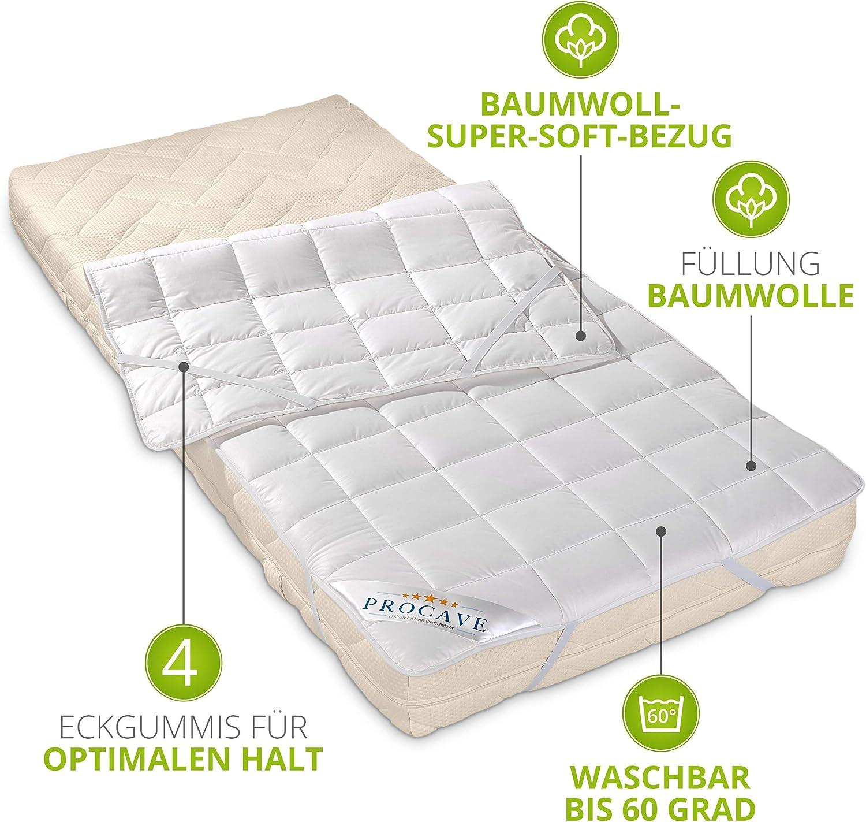 PROCAVE proteggi materasso traspirante coprimaterasso con 4 gomme angolari 60x120 cm copri materasso realizzato in cotone 100/%