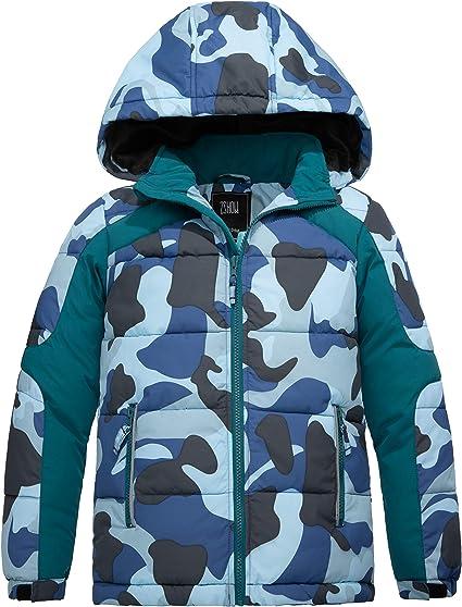 ZSHOW Boys Thicken Winter Puffer Jacket Windproof Quilted Warm Fleece Coat with Hood