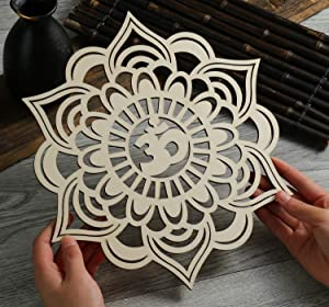Simurg OM Lotus Flower Wall Art Wooden Mandala Wall Hanging Decor Home Decoration