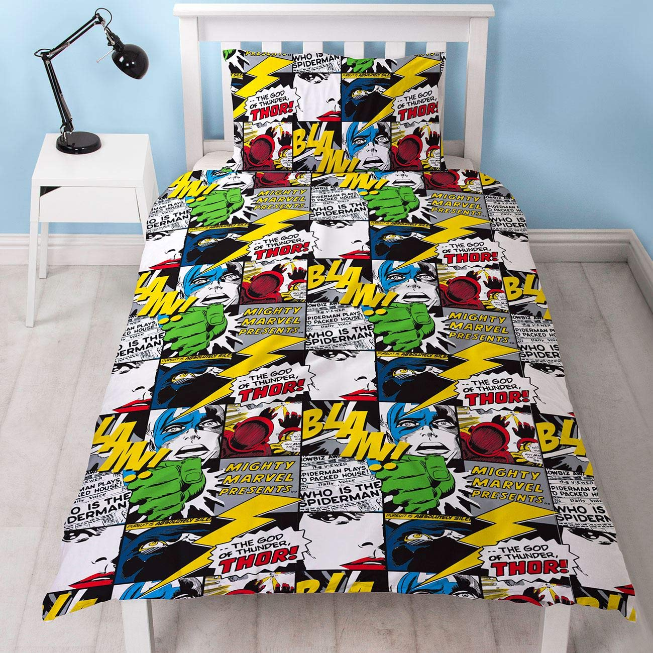 Official Scribble Duvet Cover Design Spiderman, Captain America, Hulk Design Reversible Two Sided Bedding Duvet Cover with Matching Pillow Case (UK Single/US Twin)