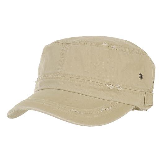 WITHMOONS Cadet Cap Cotton Vintage Distressed Washed Hat CR4267 (Beige) c53f2503801