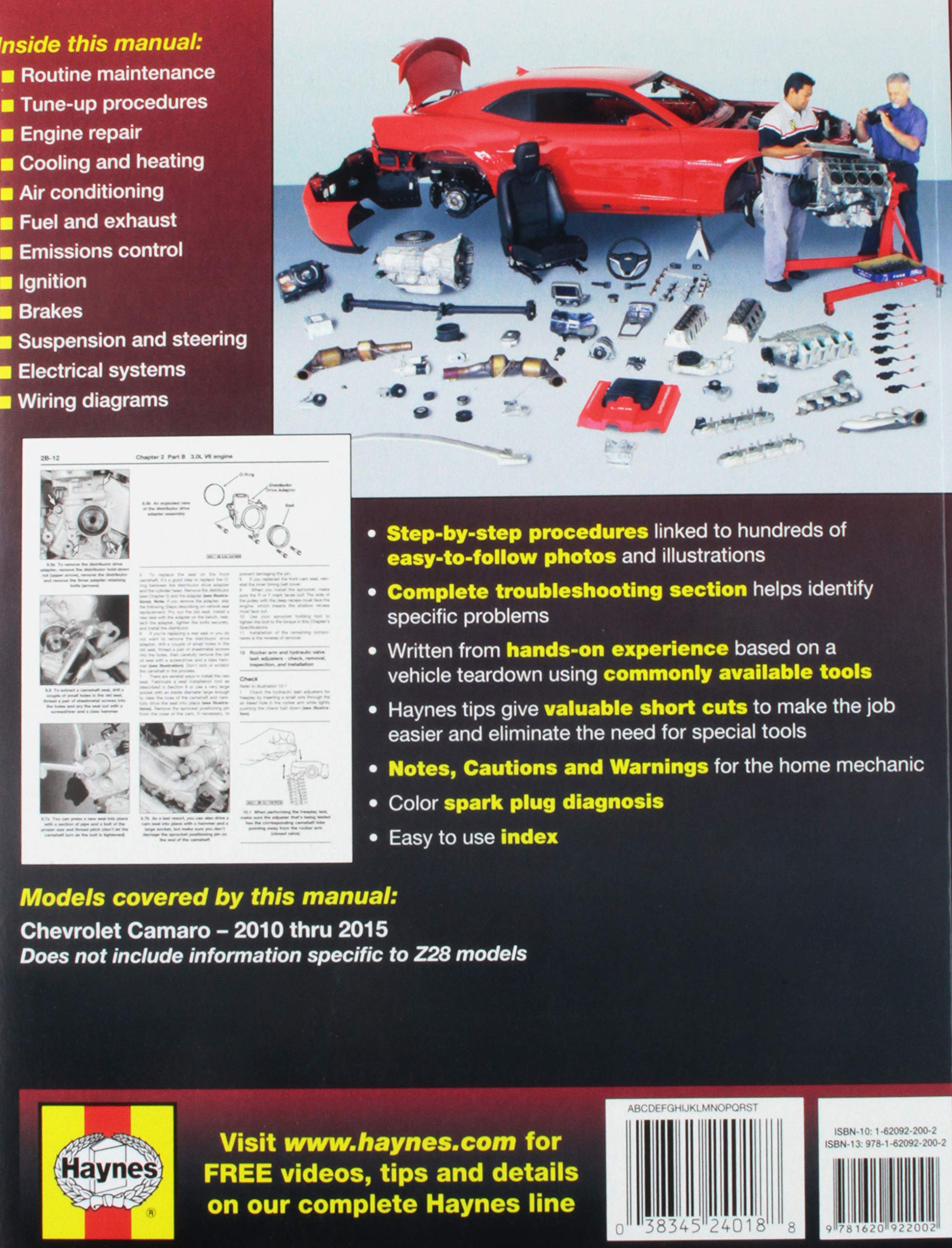 Chevrolet Camaro 10 15 Haynes Automotive Publishing 2010 Ss Engine Wiring Diagram 9781620922002 Books