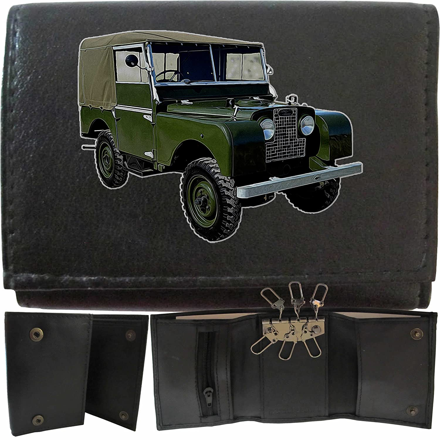 LandRover Series 1 image on KLASSEK Brand Men Leather Wallet Keyring Key rack Car Moto accessory gift with Metal Box NOT OFFICIAL Land Rover Merchandise