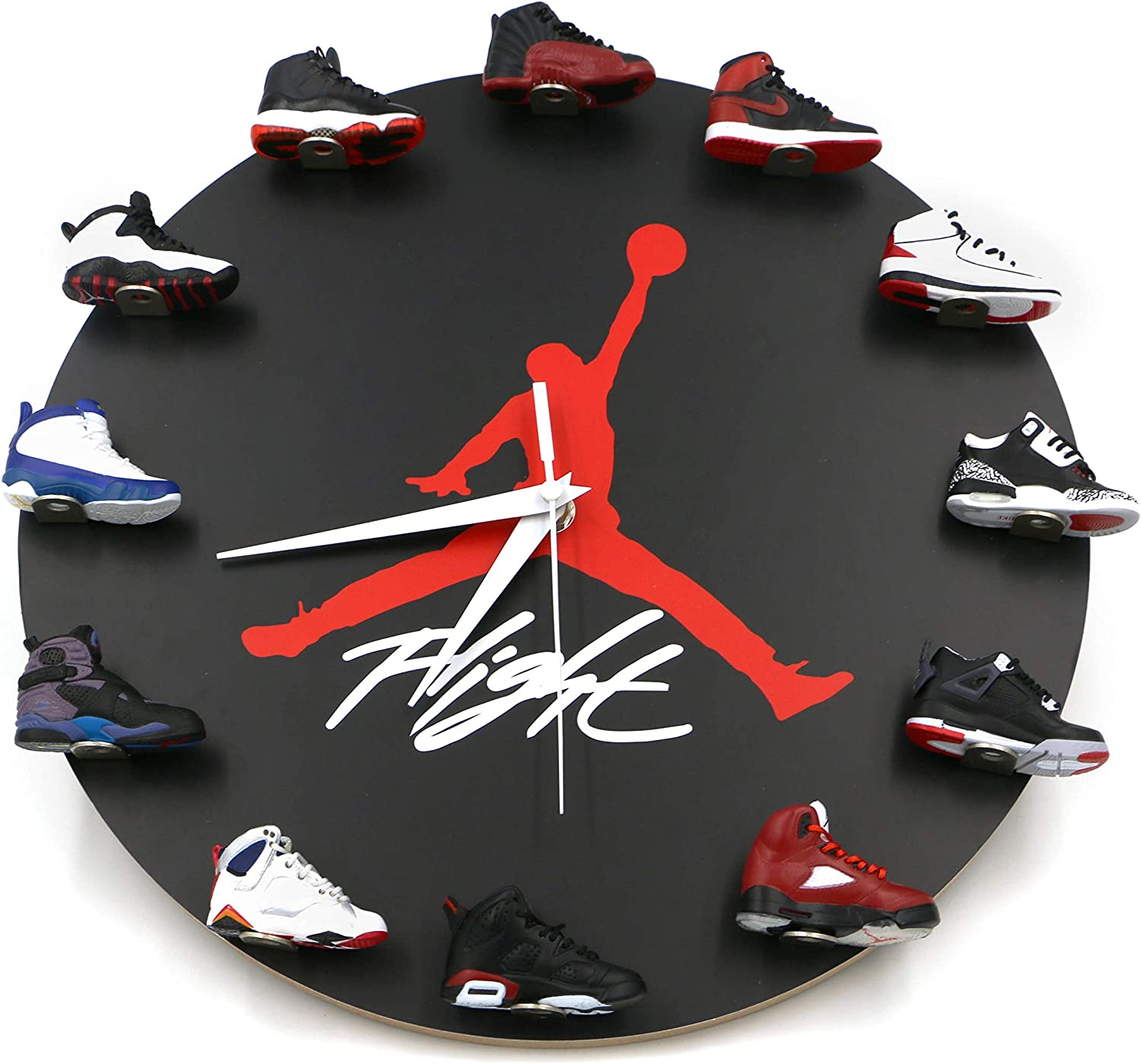 Amazon Com Relicsjp Air Jordan Wall Clock With 3d Mini Sneakers Sneakerhead Style Decor Air Jordan 1 To 12 Clock Gift For Hypebeasts Kitchen Dining