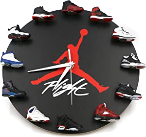 Air Jordan Wall Clock with 3D Mini Sneakers, Sneakerhead Style Decor Air Jordan 1 to 12 Clock, Gift for Hypebeasts