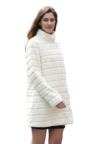Adelaqueen Elegante abrigo tres cuartos de piel sintética beige y cuello alto para mujer (Talla