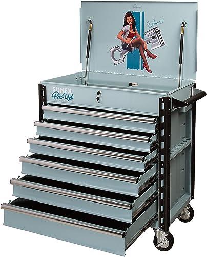 Sunex Tools 8057XTELEANOR Pin Up Series Premium Full Drawer Service Cart, Eleanor Blue