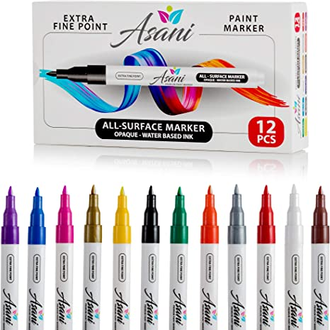 Paint Pens Acrylic Markers Set 12 Color For Rock Painting Glass Wood Porcelain Ceramic Fabric Paper Kindness Rocks Mugs Calligraphy And