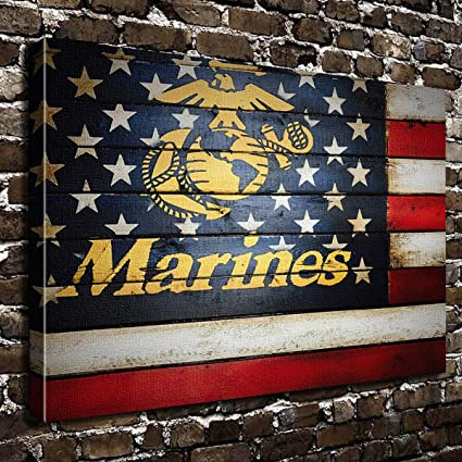 9c3cdb8bf6f9 Image Unavailable. Image not available for. Color  COLORSFORU United States  Marine Corps USA Flag Custom Canvas Print 20x16 Inch Framed Home Decor Wall