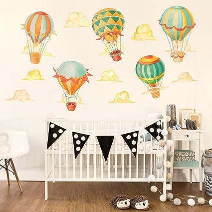 ca60dff0ac794 Chromantics Up & Away Hot Air Balloon Watercolor Wall Decal Kit - Hot Air  Balloon Wall Decal