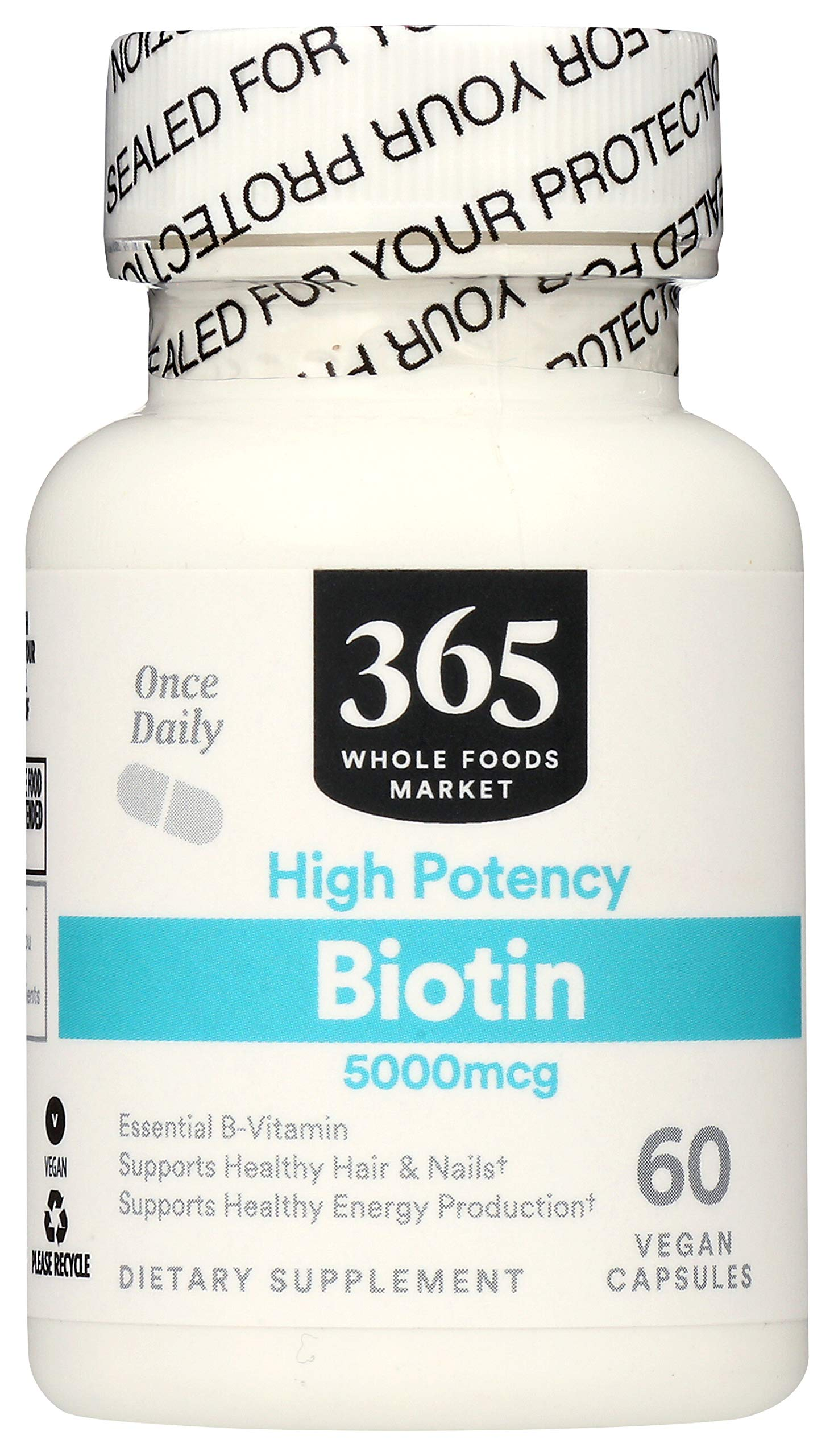 365 by Whole Foods Market, Supplements - Vitamins, Biotin - High Potency 5000mcg, 60 Count