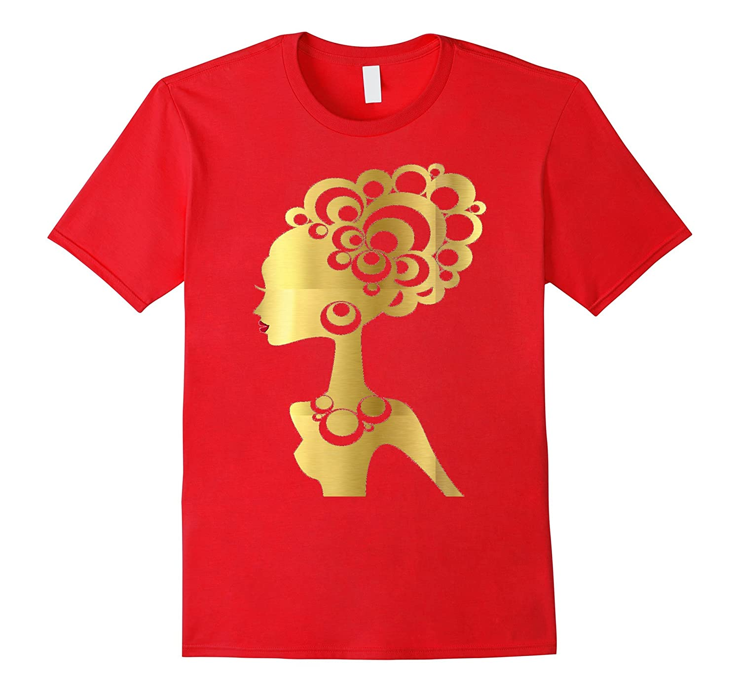 Black Girl Magic Shirt Gold Red Lips Diva Glam African Queen-CL