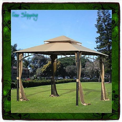 10 X 10 Gazebo Metal Steel Roof Outdoor Patio Pergola Canopy Tent Party W  Poles Sunjoy