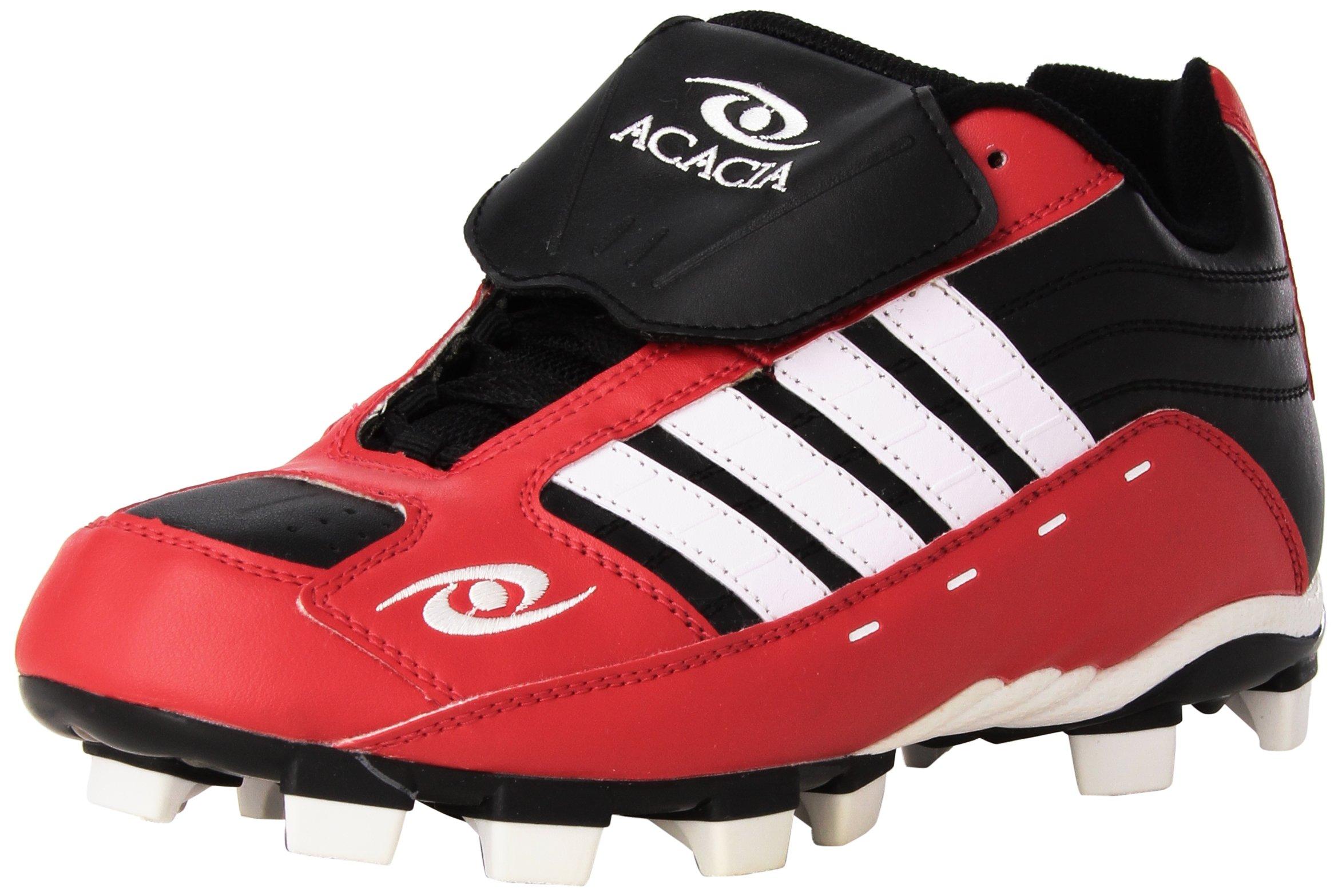 ACACIA Flyer Pro-Low Baseball/Softball Shoes, Black/Red/White, 11