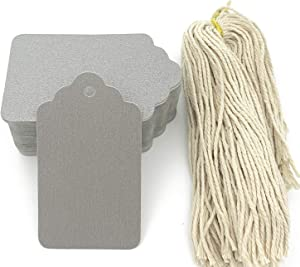 Gift Tags, 100pcs Silver Paper Tags with String