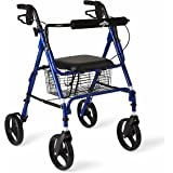 "Medline Aluminum Folding Rollator Walker with 8"" Wheels and Basket, Blue"