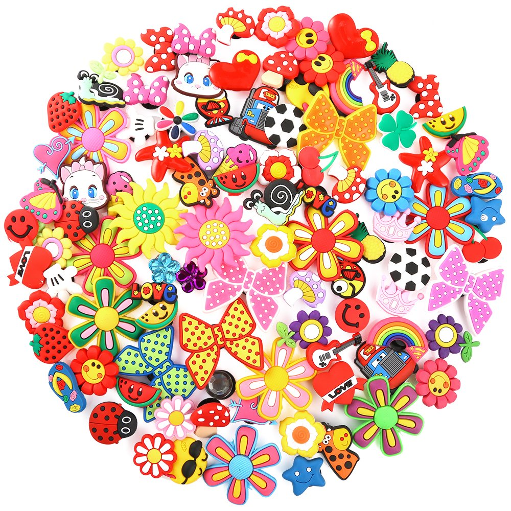 PP OPOUNT100 Pieces PVC Shoe Charms64 Different Shapes Jibbitz Charms Including 36 Pairs Same Pattern and 28 Pieces Single Pattern Jibbitz Charms for Croc& Jibbitz Bands Bracelet Wristband