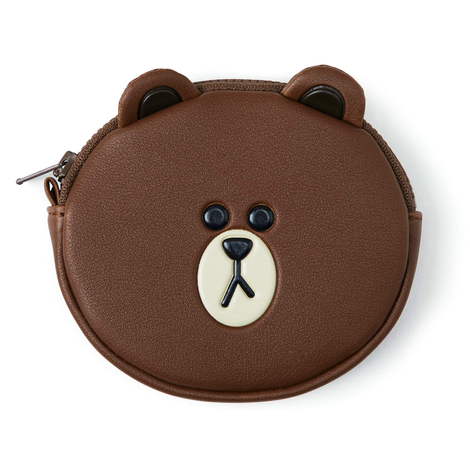 Line Friends Coin Purse Wallet - BROWN Character Design Small Faux Leather Money Holder Pouch for Women, Brown