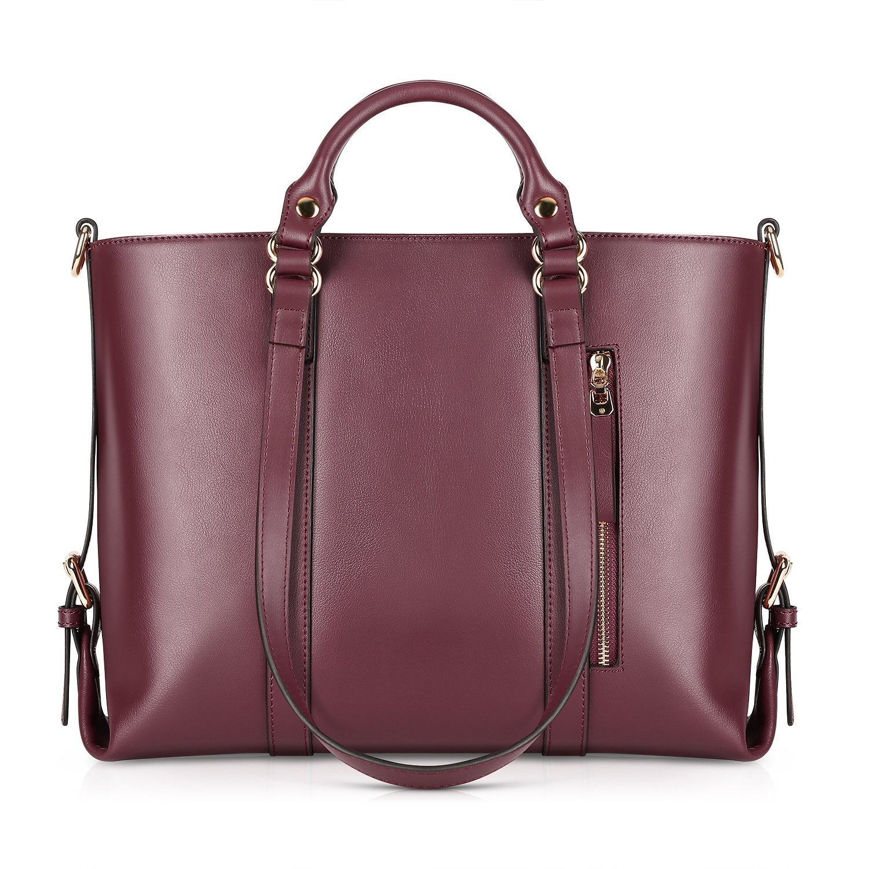 Kattee Urban Style 3-Way Women's Genuine Leather Shoulder Tote Bag Black XB003BK-FBA