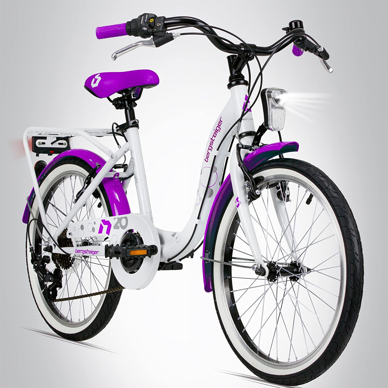 8 9 Jahre M/ädchen-Fahrrad mit Dynamo-Licht Bergsteiger Atlantis 20 Zoll Kinderfahrrad 7 Shimano 6 Gang-Schaltung StVZO geeignet f/ür 6