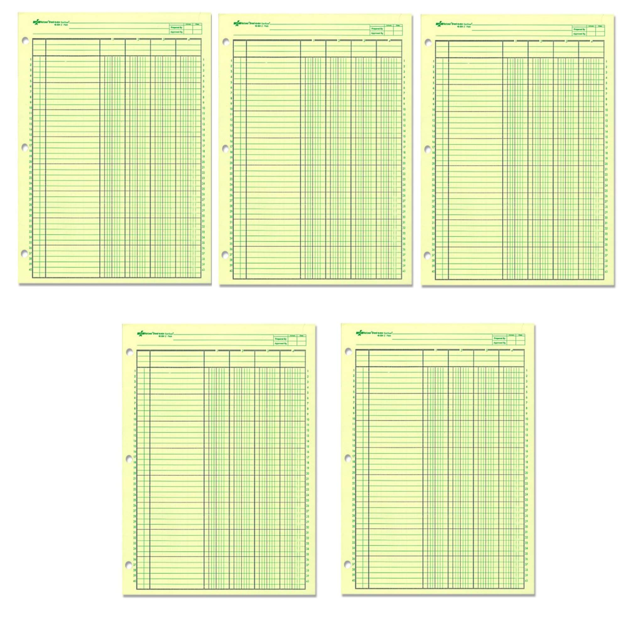 National Analysis Pad, 4 Columns, Green Paper, 11 x 8.5'' 50 Sheets (45604), 5 Pack by Rediform