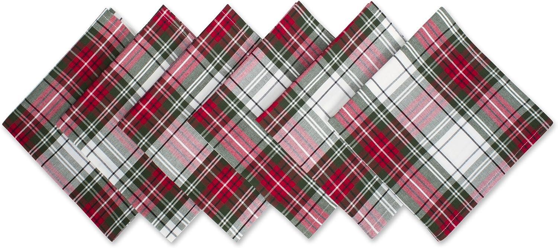 "DII Christmas Plaid 100% Cotton Oversized Napkin for - Set of 6, 20x20"""