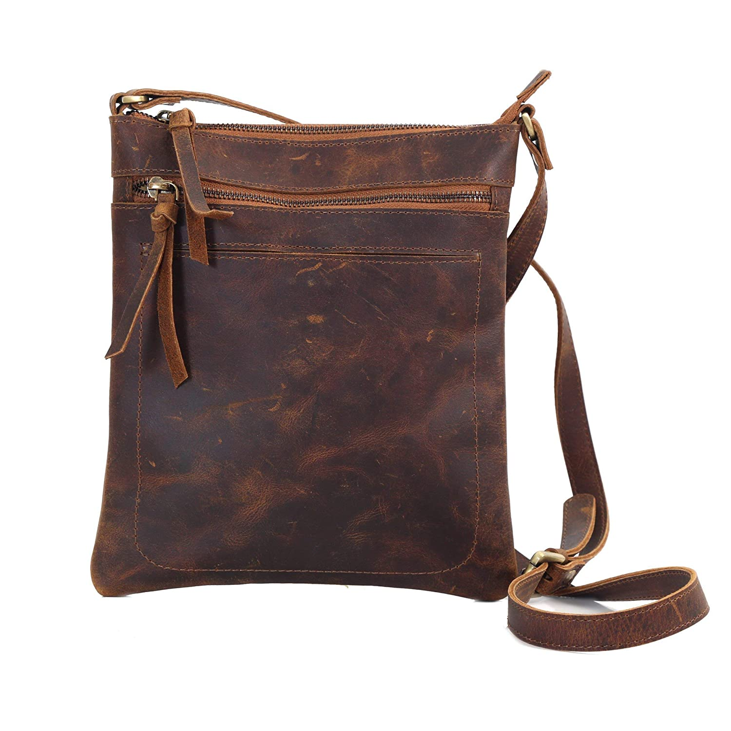 Dark Brown Vintage Distressed Leather Small Crossbody Shoulder Messenger Bag