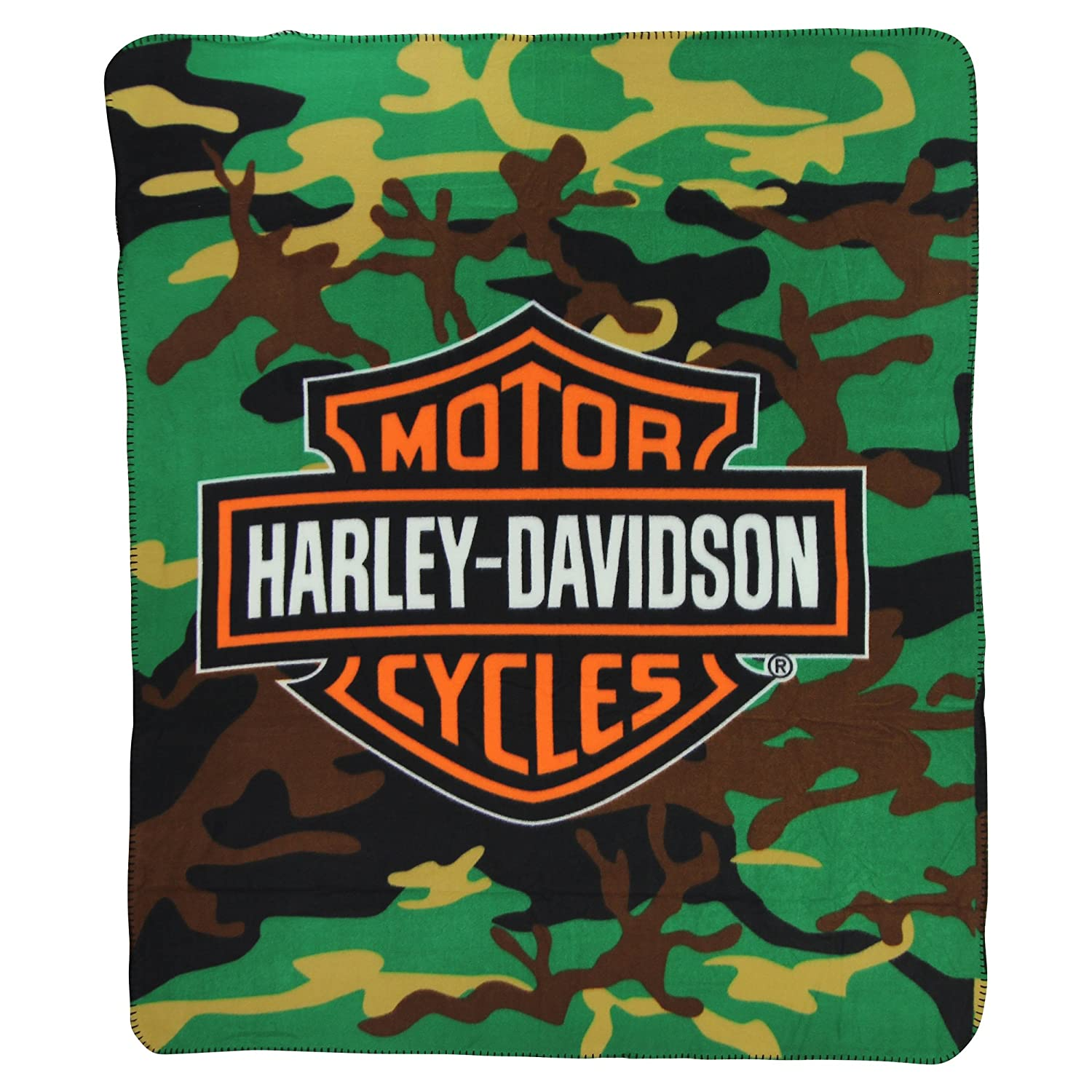 Harley Davidson Camo Lightweight Fleece Throw Blanket